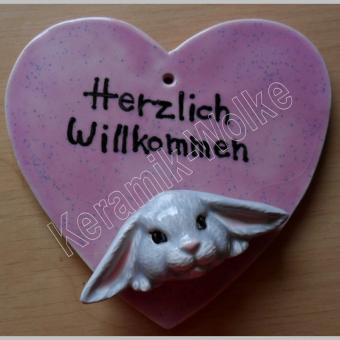 """Herzschild - Hase """"Herzlich Willkommen"""""""